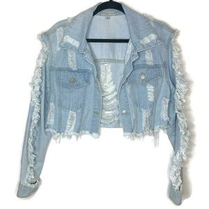 Distressed  boxy cropped denim jacket, sz SMALL